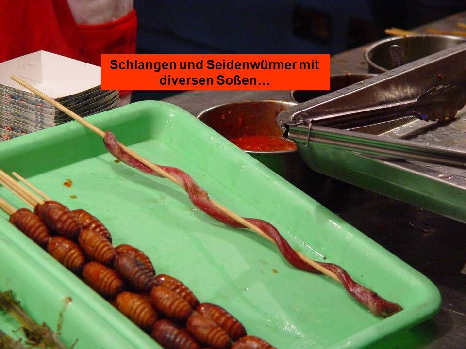 Schlangen und Seidenwürmer mit diversen Soßen…