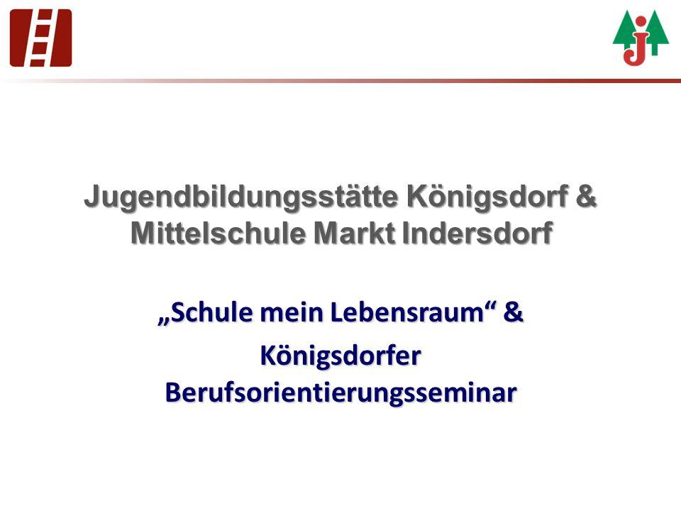 """Jugendbildungsstätte Königsdorf & Mittelschule Markt Indersdorf """"Schule mein Lebensraum"""" & Königsdorfer Berufsorientierungsseminar"""