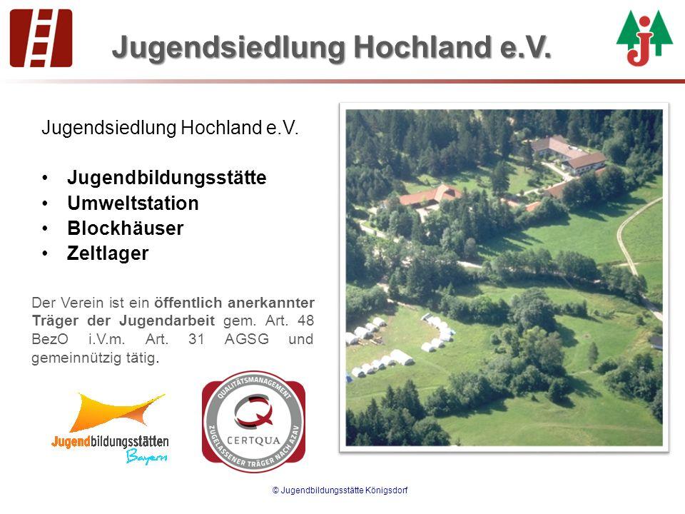 Jugendsiedlung Hochland e.V. Jugendbildungsstätte Umweltstation Blockhäuser Zeltlager © Jugendbildungsstätte Königsdorf Der Verein ist ein öffentlich