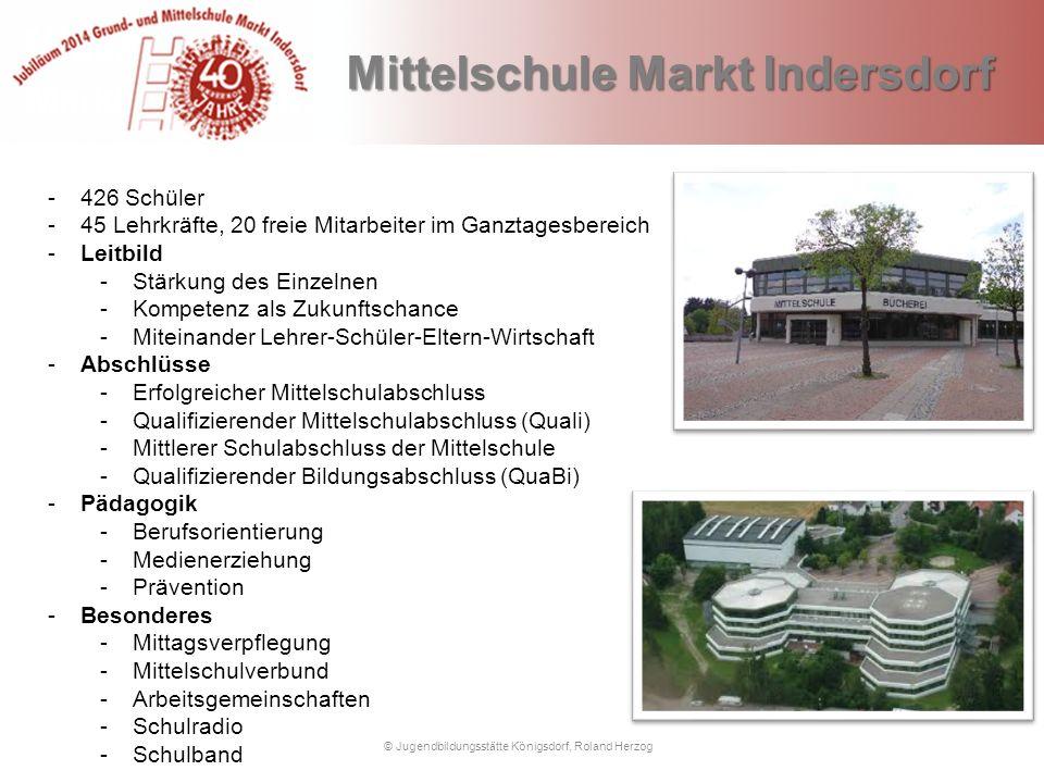 Mittelschule Markt Indersdorf © Jugendbildungsstätte Königsdorf, Roland Herzog Mittelschule Markt Indersdorf -426 Schüler -45 Lehrkräfte, 20 freie Mit
