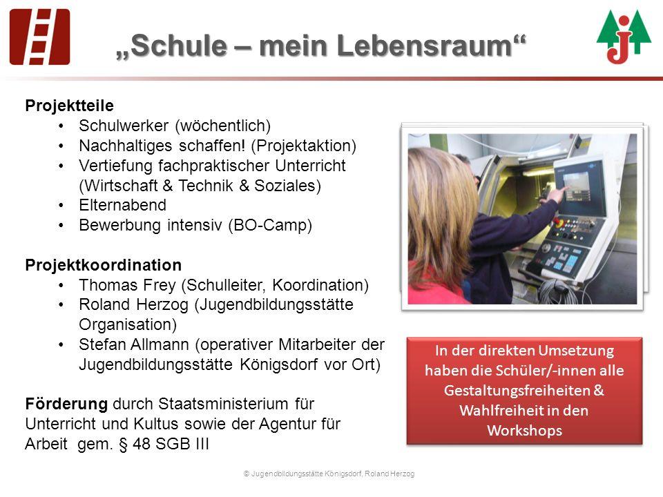 """""""Schule – mein Lebensraum © Jugendbildungsstätte Königsdorf, Roland Herzog Projektteile Schulwerker (wöchentlich) Nachhaltiges schaffen."""