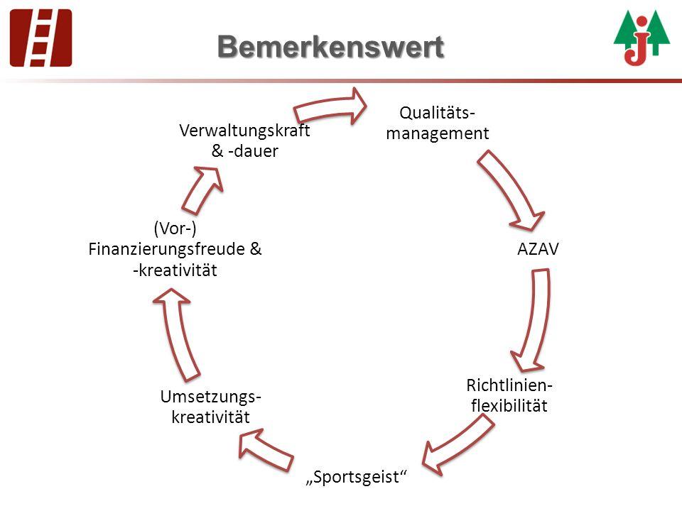 "Bemerkenswert Qualitäts- management AZAV Richtlinien- flexibilität ""Sportsgeist"" Umsetzungs- kreativität (Vor-) Finanzierungsfreude & -kreativität Ver"