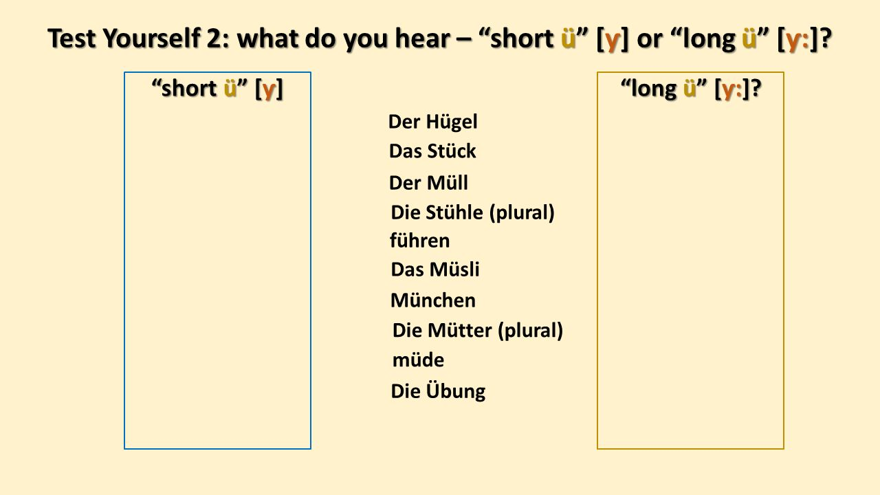 Test Yourself 2: what do you hear – short ü [ƴ] or long ü [ƴ:].