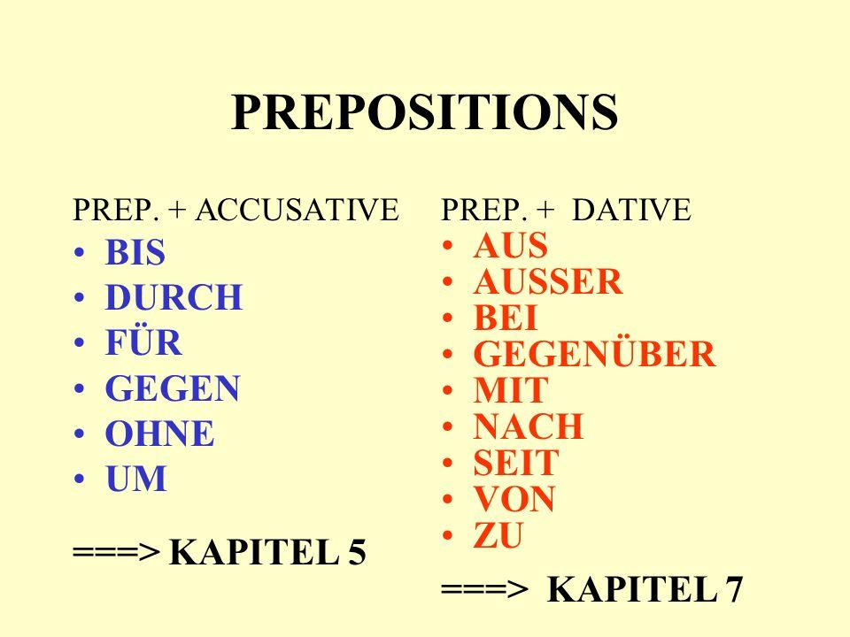 PREPOSITIONS PREP. + ACCUSATIVE BIS DURCH FÜR GEGEN OHNE UM ===> KAPITEL 5 PREP.
