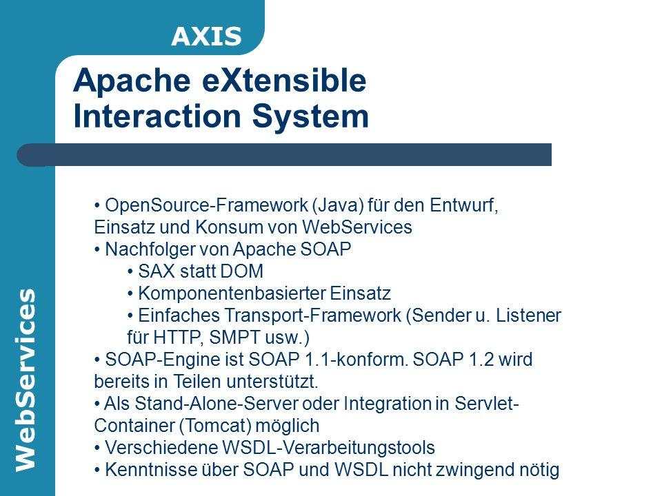 WebServices Apache eXtensible Interaction System AXIS OpenSource-Framework (Java) für den Entwurf, Einsatz und Konsum von WebServices Nachfolger von A