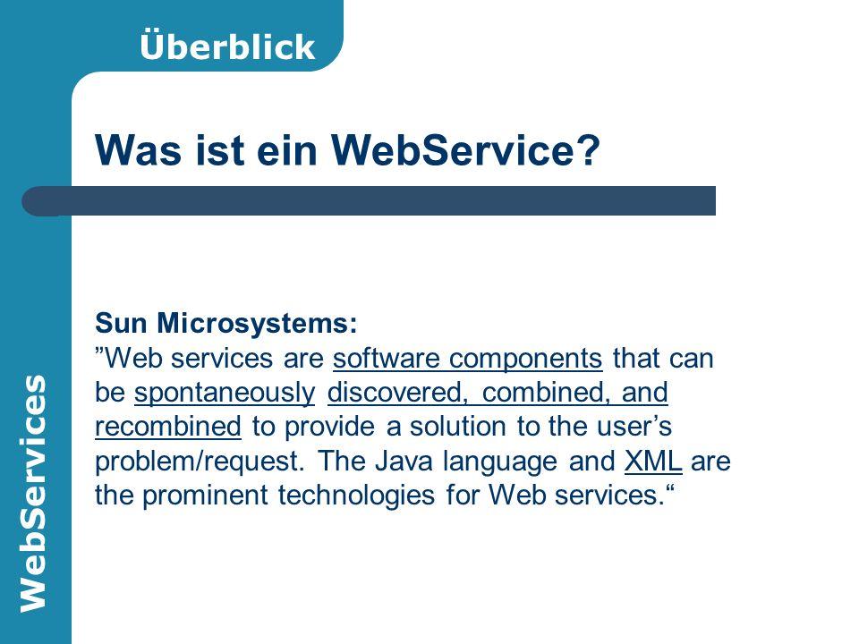 WebServices Inhalt des Vortrags Überblick WSDL (WebService Description Language) AXIS (OpenSource Framework für Java) – Architektur – Praktischer Einsatz Sicherheit
