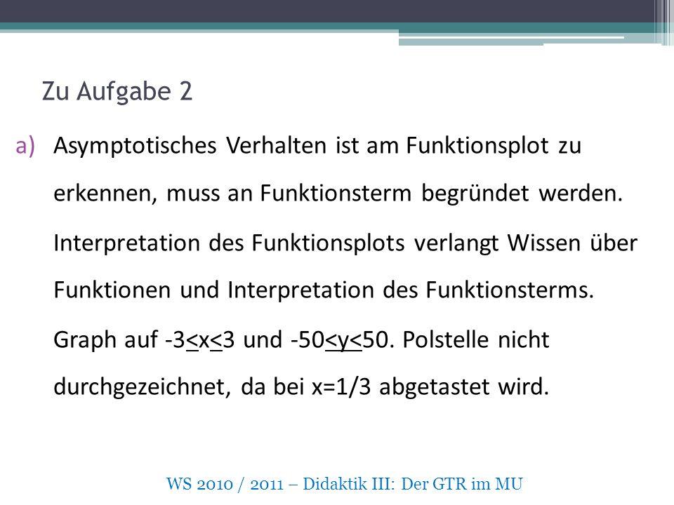 Zu Aufgabe 2 a)Asymptotisches Verhalten ist am Funktionsplot zu erkennen, muss an Funktionsterm begründet werden.
