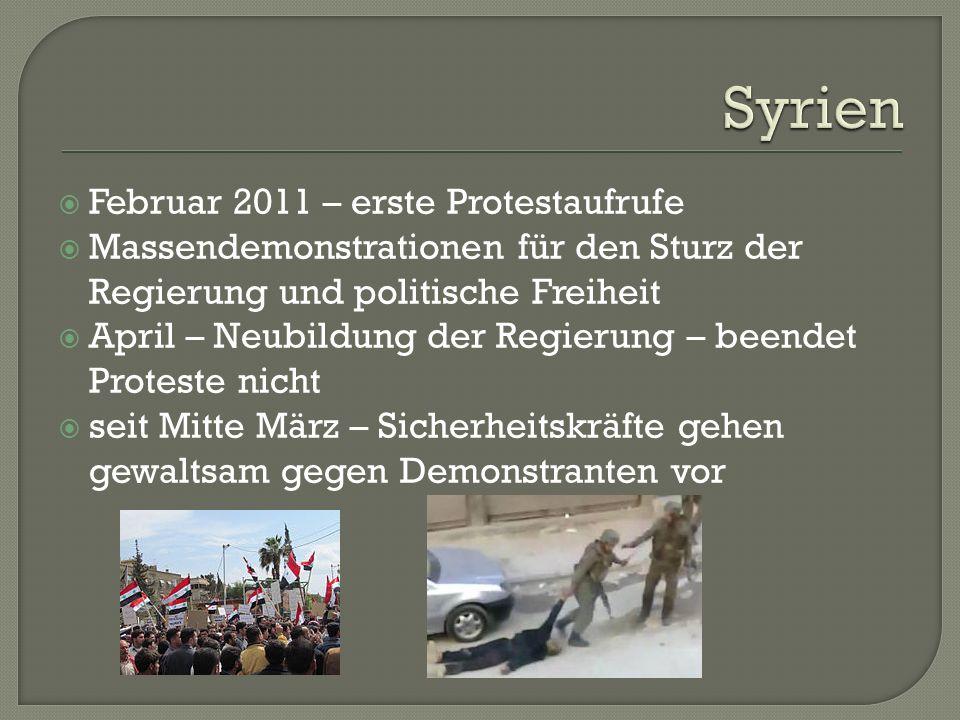  Februar 2011 – erste Protestaufrufe  Massendemonstrationen für den Sturz der Regierung und politische Freiheit  April – Neubildung der Regierung – beendet Proteste nicht  seit Mitte März – Sicherheitskräfte gehen gewaltsam gegen Demonstranten vor