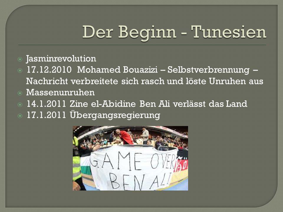  Jasminrevolution  17.12.2010 Mohamed Bouazizi – Selbstverbrennung – Nachricht verbreitete sich rasch und löste Unruhen aus  Massenunruhen  14.1.2011 Zine el-Abidine Ben Ali verlässt das Land  17.1.2011 Übergangsregierung