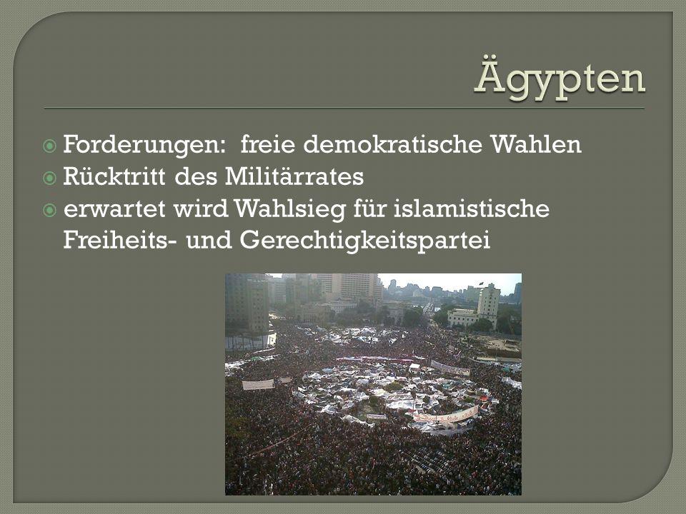  Forderungen: freie demokratische Wahlen  Rücktritt des Militärrates  erwartet wird Wahlsieg für islamistische Freiheits- und Gerechtigkeitspartei