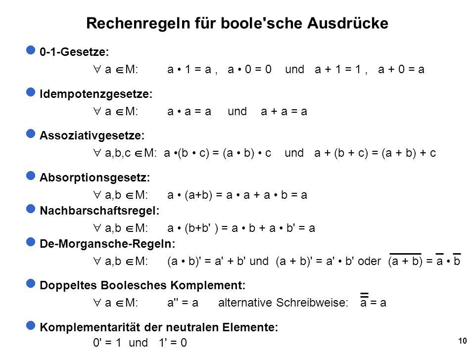 10 Rechenregeln für boole sche Ausdrücke 0-1-Gesetze:  a  M: a 1 = a, a 0 = 0 und a + 1 = 1, a + 0 = a Idempotenzgesetze:  a  M: a a = a und a + a = a Assoziativgesetze:  a,b,c  M: a (b c) = (a b) c und a + (b + c) = (a + b) + c Absorptionsgesetz:  a,b  M: a (a+b) = a a + a b = a Nachbarschaftsregel:  a,b  M: a (b+b ) = a b + a b = a De-Morgansche-Regeln:  a,b  M: (a b) = a + b und (a + b) = a b oder (a + b) = a b Doppeltes Boolesches Komplement:  a  M: a = a alternative Schreibweise: a = a Komplementarität der neutralen Elemente: 0 = 1 und 1 = 0