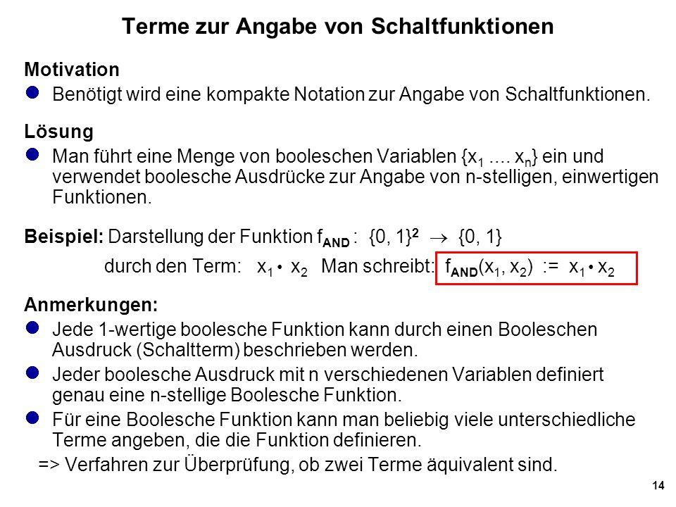 14 Terme zur Angabe von Schaltfunktionen Motivation Benötigt wird eine kompakte Notation zur Angabe von Schaltfunktionen.