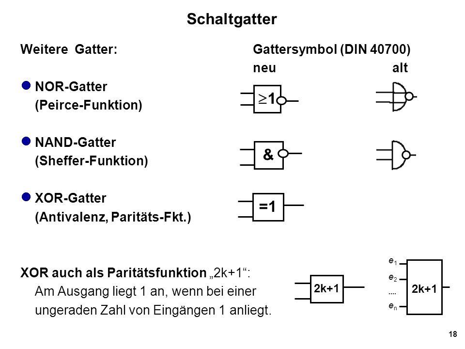 "18 Schaltgatter Weitere Gatter:Gattersymbol (DIN 40700) neu alt NOR-Gatter (Peirce-Funktion) NAND-Gatter (Sheffer-Funktion) XOR-Gatter (Antivalenz, Paritäts-Fkt.) XOR auch als Paritätsfunktion ""2k+1 : Am Ausgang liegt 1 an, wenn bei einer ungeraden Zahl von Eingängen 1 anliegt."