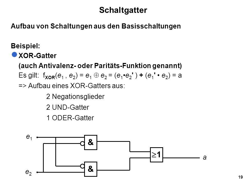 19 Schaltgatter Aufbau von Schaltungen aus den Basisschaltungen Beispiel: XOR-Gatter (auch Antivalenz- oder Paritäts-Funktion genannt) Es gilt: f XOR (e 1, e 2 ) = e 1  e 2 = (e 1e 2 ) + (e 1 e 2 ) = a => Aufbau eines XOR-Gatters aus: 2 Negationsglieder 2 UND-Gatter 1 ODER-Gatter & & 11 e1e1 e2e2 a