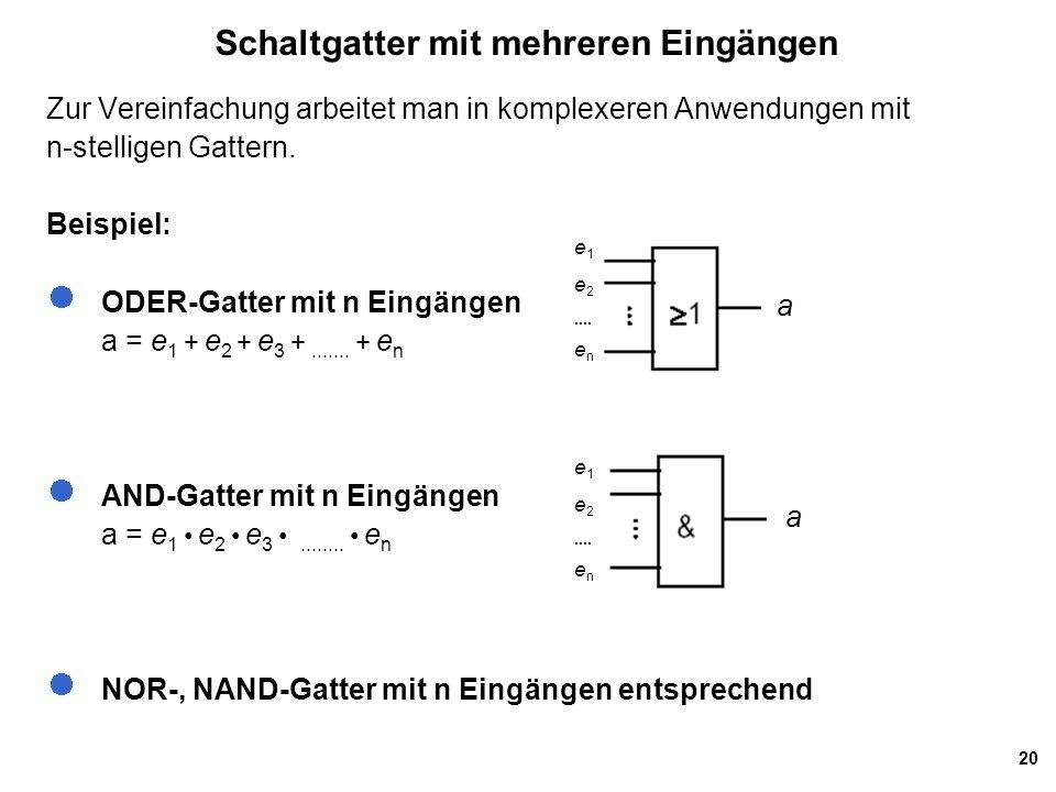20 Schaltgatter mit mehreren Eingängen Zur Vereinfachung arbeitet man in komplexeren Anwendungen mit n-stelligen Gattern.