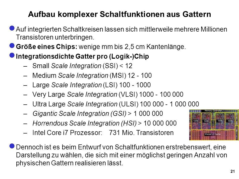 21 Aufbau komplexer Schaltfunktionen aus Gattern Auf integrierten Schaltkreisen lassen sich mittlerweile mehrere Millionen Transistoren unterbringen.