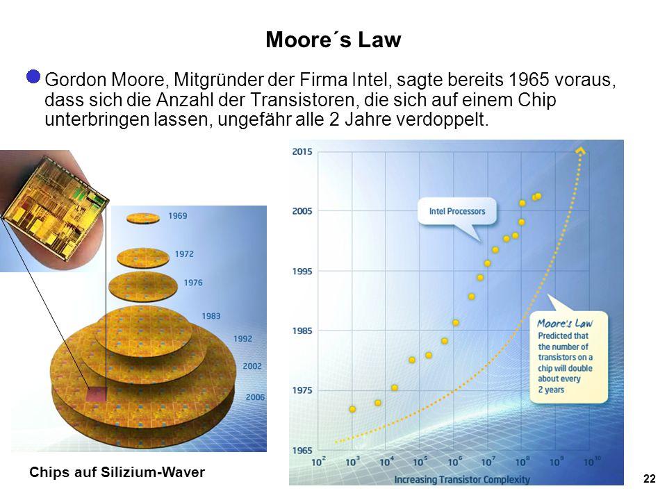 22 Moore´s Law Gordon Moore, Mitgründer der Firma Intel, sagte bereits 1965 voraus, dass sich die Anzahl der Transistoren, die sich auf einem Chip unterbringen lassen, ungefähr alle 2 Jahre verdoppelt.