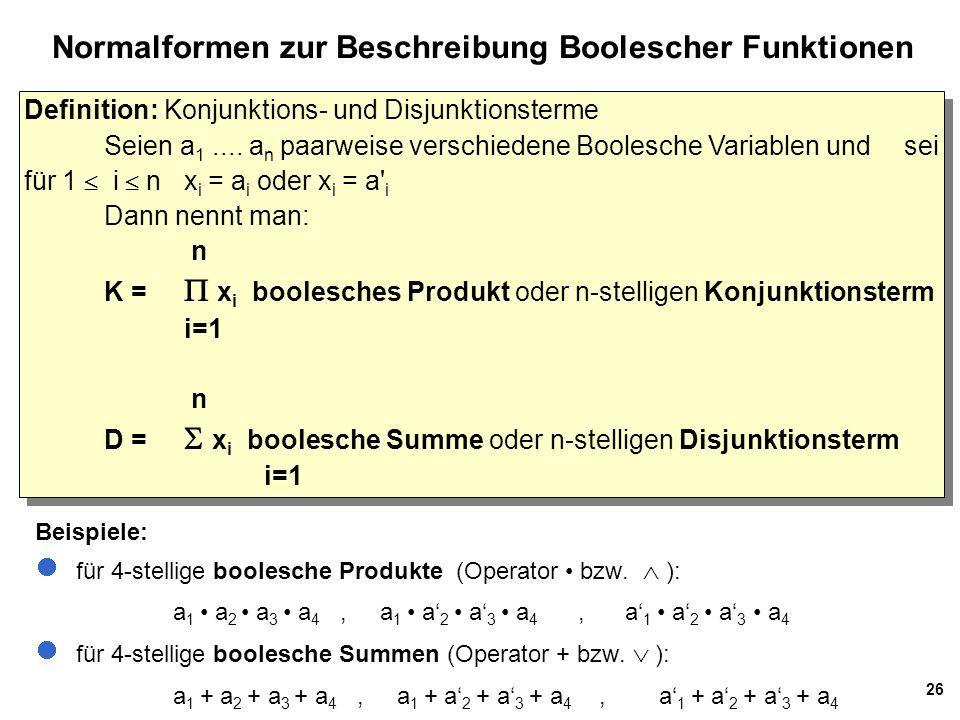 26 Normalformen zur Beschreibung Boolescher Funktionen Definition: Konjunktions- und Disjunktionsterme Seien a 1....