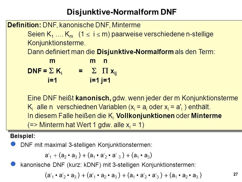 27 Disjunktive-Normalform DNF Definition: DNF, kanonische DNF, Minterme Seien K 1....