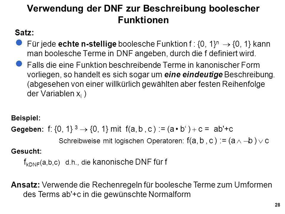 28 Verwendung der DNF zur Beschreibung boolescher Funktionen Satz: Für jede echte n-stellige boolesche Funktion f : {0, 1} n  {0, 1} kann man boolesche Terme in DNF angeben, durch die f definiert wird.