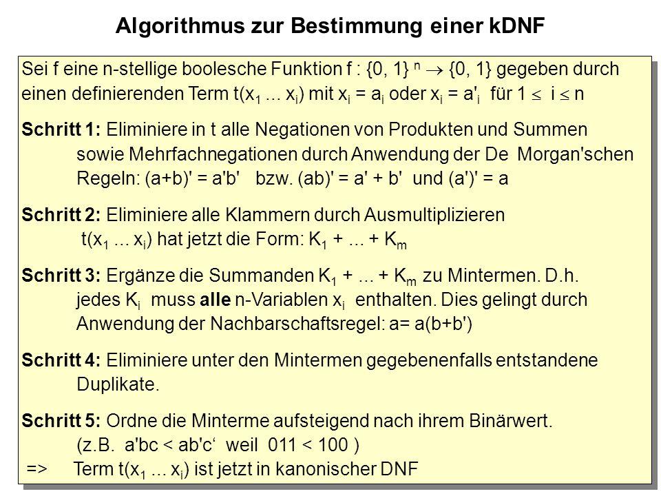 29 Algorithmus zur Bestimmung einer kDNF Sei f eine n-stellige boolesche Funktion f : {0, 1} n  {0, 1} gegeben durch einen definierenden Term t(x 1...