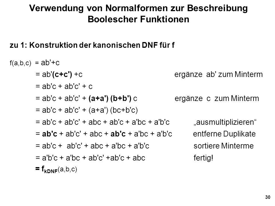 """30 Verwendung von Normalformen zur Beschreibung Boolescher Funktionen zu 1: Konstruktion der kanonischen DNF für f f(a,b,c) = ab +c = ab (c+c ) +c ergänze ab zum Minterm = ab c + ab c + c = ab c + ab c + (a+a ) (b+b ) c ergänze c zum Minterm = ab c + ab c + (a+a ) (bc+b c) = ab c + ab c + abc + ab c + a bc + a b c """"ausmultiplizieren = ab c + ab c + abc + ab c + a bc + a b c entferne Duplikate = ab c + ab c + abc + a bc + a b c sortiere Minterme = a b c + a bc + ab c +ab c + abc fertig."""