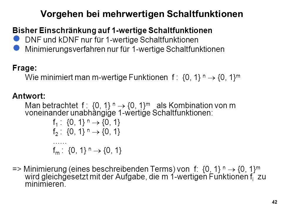 42 Vorgehen bei mehrwertigen Schaltfunktionen Bisher Einschränkung auf 1-wertige Schaltfunktionen DNF und kDNF nur für 1-wertige Schaltfunktionen Minimierungsverfahren nur für 1-wertige Schaltfunktionen Frage: Wie minimiert man m-wertige Funktionen f : {0, 1} n  {0, 1} m Antwort: Man betrachtet f : {0, 1} n  {0, 1} m als Kombination von m voneinander unabhängige 1-wertige Schaltfunktionen: f 1 : {0, 1} n  {0, 1} f 2 : {0, 1} n  {0, 1}......