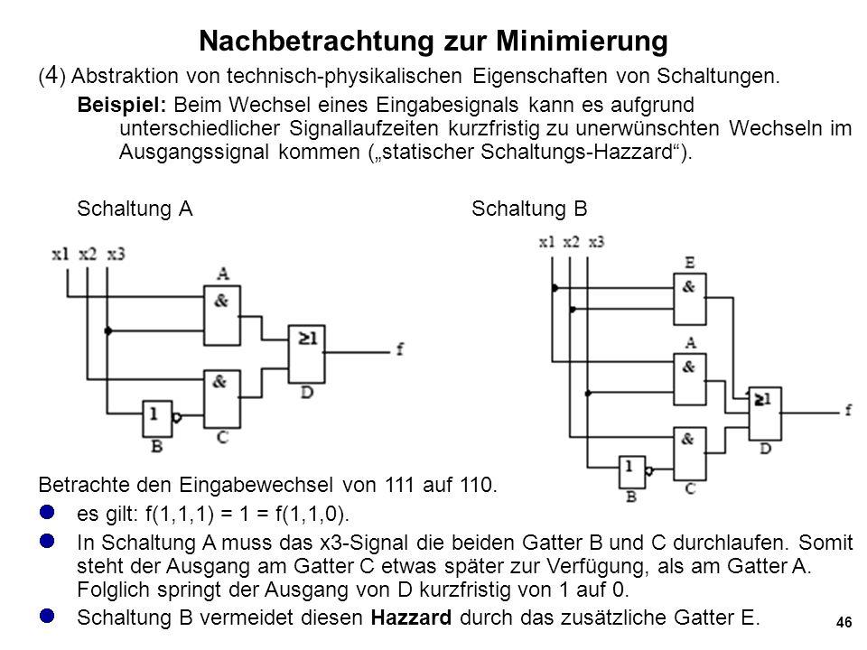 46 Nachbetrachtung zur Minimierung ( 4 ) Abstraktion von technisch-physikalischen Eigenschaften von Schaltungen.