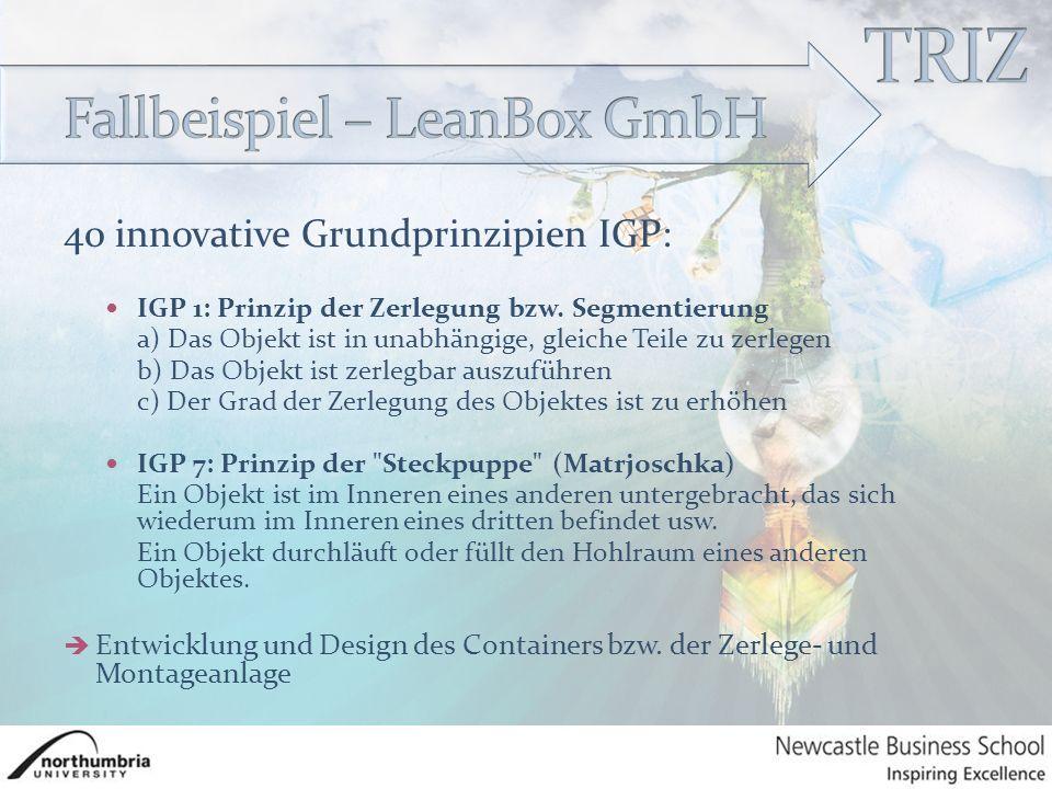 40 innovative Grundprinzipien IGP: IGP 1: Prinzip der Zerlegung bzw.