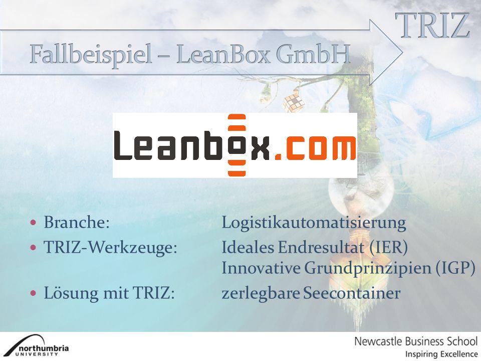 Branche:Logistikautomatisierung TRIZ-Werkzeuge:Ideales Endresultat (IER) Innovative Grundprinzipien (IGP) Lösung mit TRIZ:zerlegbare Seecontainer