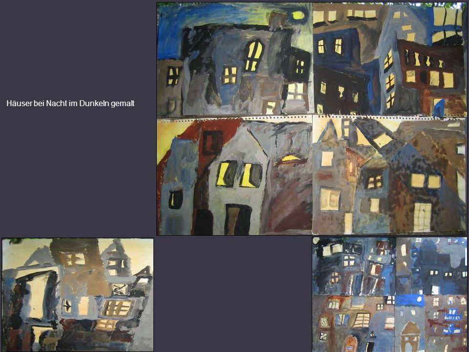 Häuser bei Nacht im Dunkeln gemalt