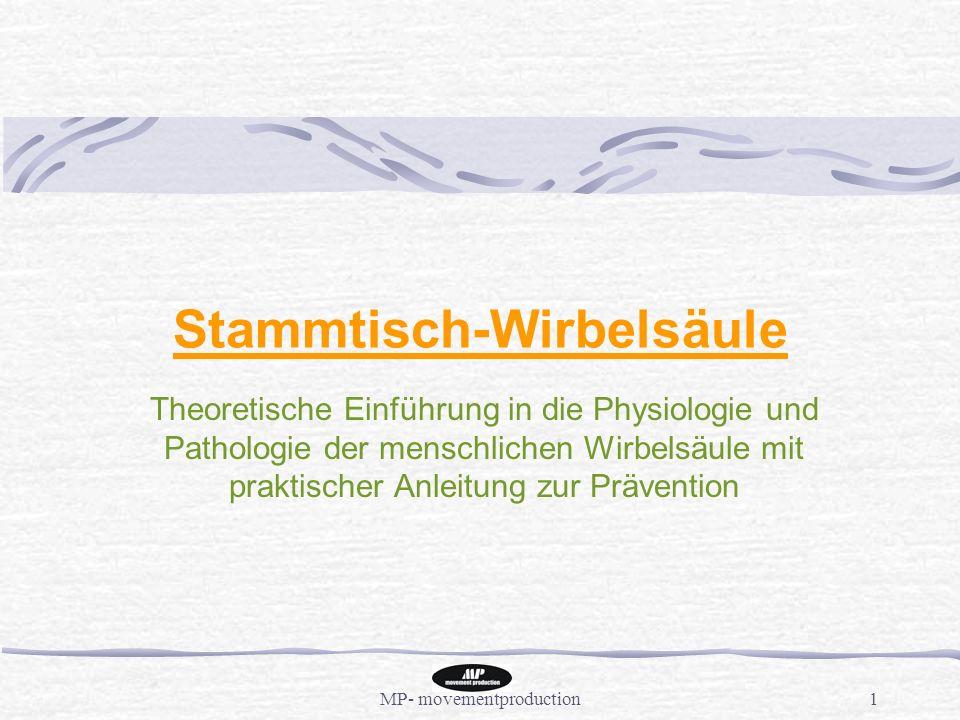 MP- movementproduction1 Stammtisch-Wirbelsäule Theoretische Einführung in die Physiologie und Pathologie der menschlichen Wirbelsäule mit praktischer Anleitung zur Prävention