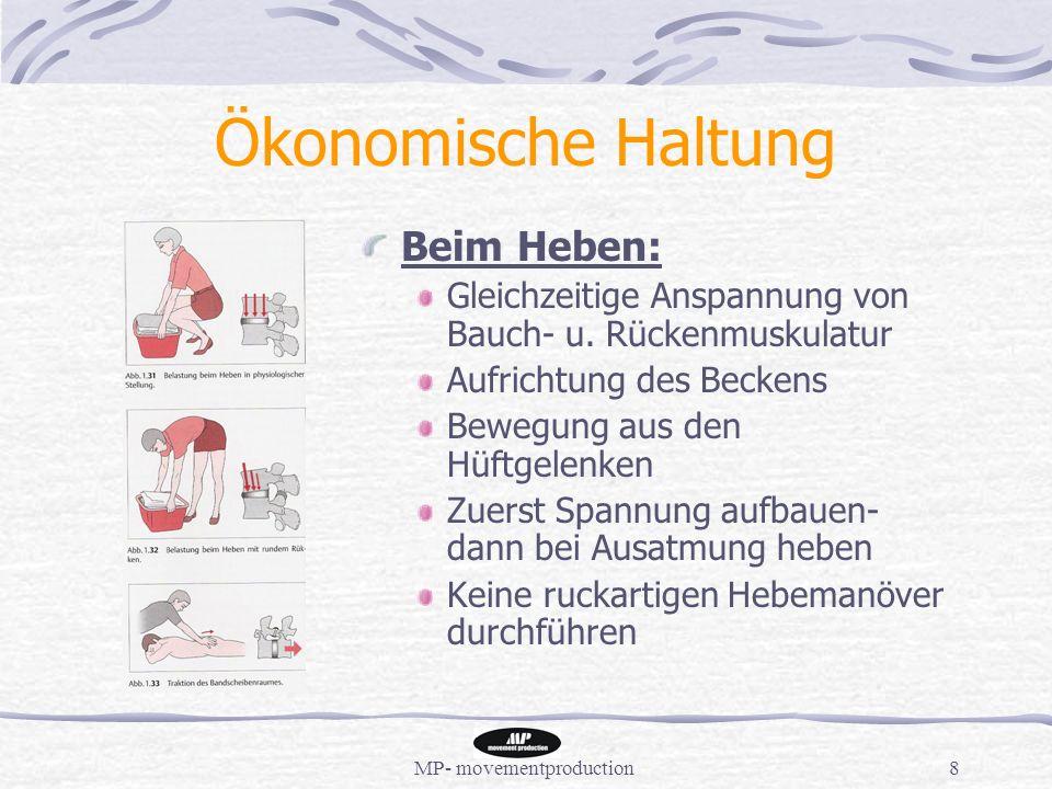 MP- movementproduction8 Ökonomische Haltung Beim Heben: Gleichzeitige Anspannung von Bauch- u.