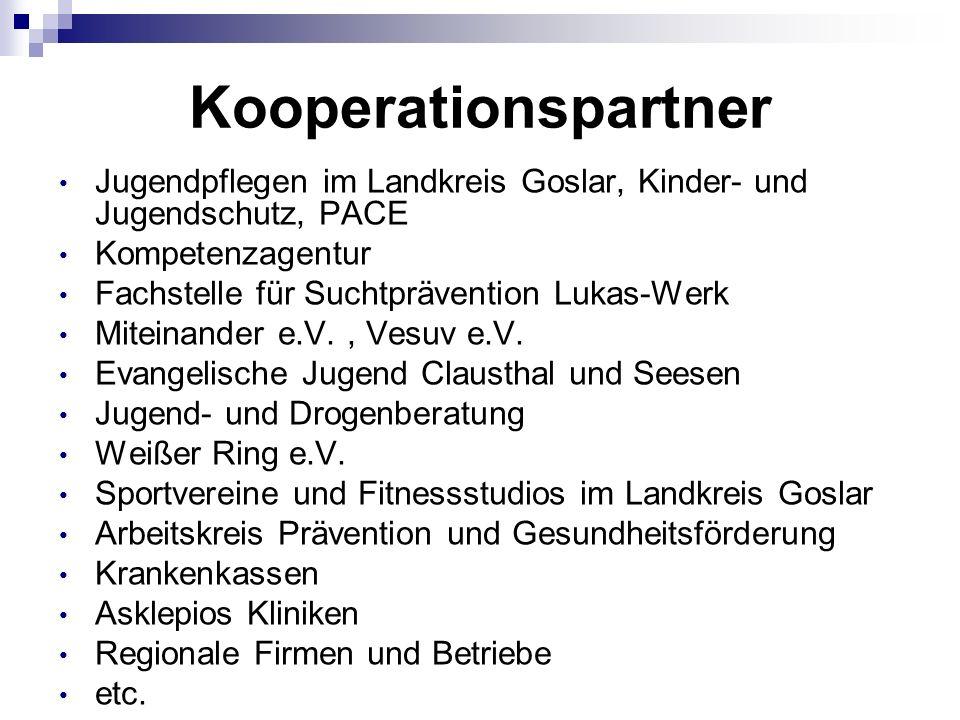 Kooperationspartner Jugendpflegen im Landkreis Goslar, Kinder- und Jugendschutz, PACE Kompetenzagentur Fachstelle für Suchtprävention Lukas-Werk Miteinander e.V., Vesuv e.V.