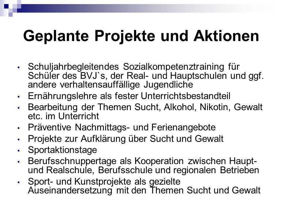 Geplante Projekte und Aktionen Schuljahrbegleitendes Sozialkompetenztraining für Schüler des BVJ`s, der Real- und Hauptschulen und ggf.