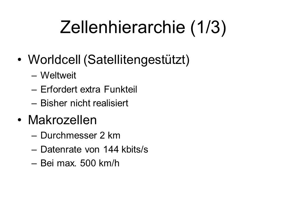 Zellenhierarchie (1/3) Worldcell (Satellitengestützt) –Weltweit –Erfordert extra Funkteil –Bisher nicht realisiert Makrozellen –Durchmesser 2 km –Date
