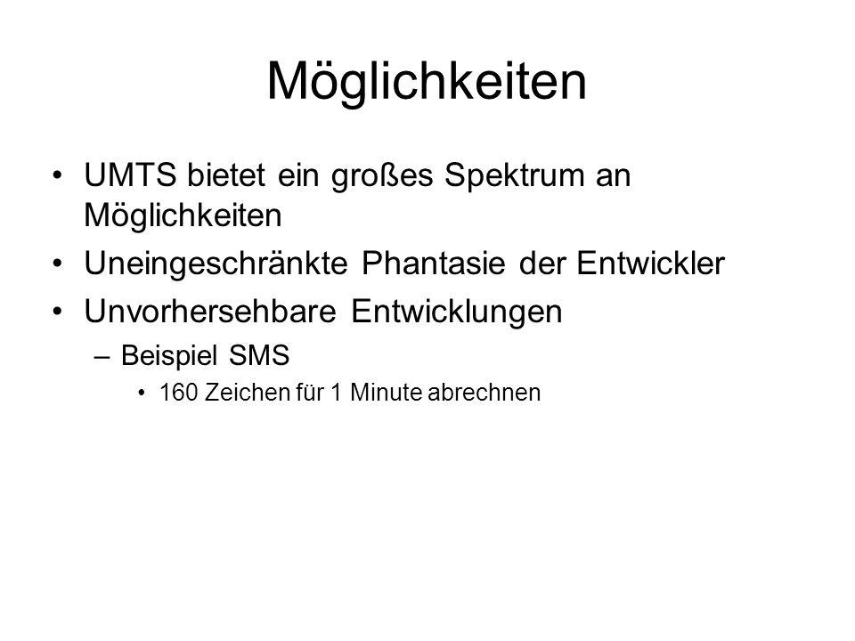 Möglichkeiten UMTS bietet ein großes Spektrum an Möglichkeiten Uneingeschränkte Phantasie der Entwickler Unvorhersehbare Entwicklungen –Beispiel SMS 160 Zeichen für 1 Minute abrechnen