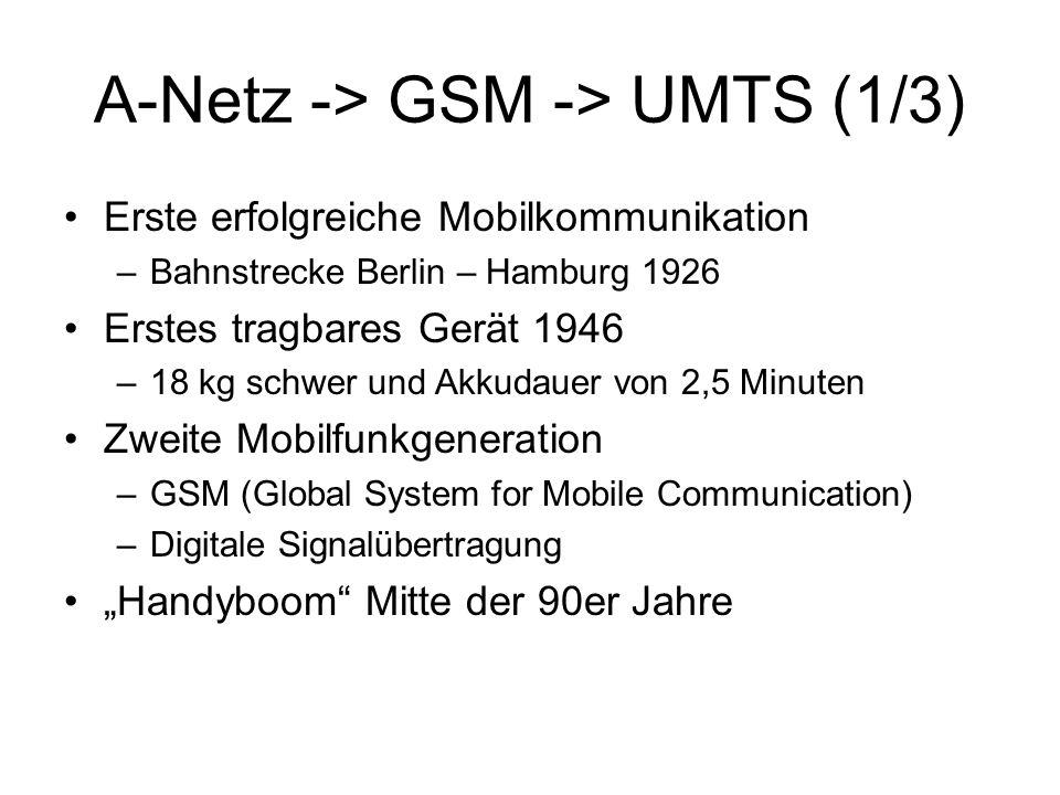 """A-Netz -> GSM -> UMTS (1/3) Erste erfolgreiche Mobilkommunikation –Bahnstrecke Berlin – Hamburg 1926 Erstes tragbares Gerät 1946 –18 kg schwer und Akkudauer von 2,5 Minuten Zweite Mobilfunkgeneration –GSM (Global System for Mobile Communication) –Digitale Signalübertragung """"Handyboom Mitte der 90er Jahre"""