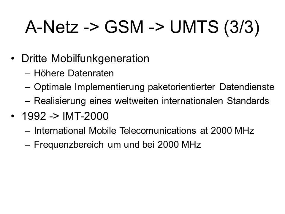 Frequenzen (1/2) Zwei relevante Technologien für Europa –UTRA-FDD (UMTS Terrestrial Radio Access – Frequency Division Duplex) –UTRA-TDD (UMTS Terrestrial Radio Access – Time Division Duplex) Frequenzbereiche –UTRA-TDD (5 x 5MHz-Bänder) 1900 – 1920 & 2020 – 2025 MHz –UTRA-FDD Uplink (12 x 5MHz-Bänder für Uplink) 1920 – 1980 MHz –UTRA-FDD Downlink (12 x 5MHz Bänder für Downlink) 2110 – 2170 MHz