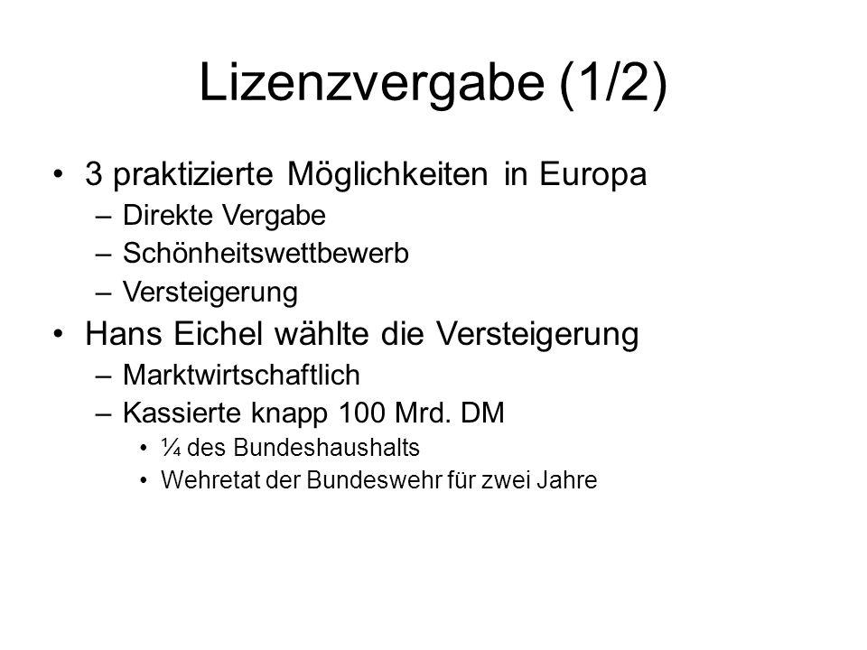 Lizenzvergabe (1/2) 3 praktizierte Möglichkeiten in Europa –Direkte Vergabe –Schönheitswettbewerb –Versteigerung Hans Eichel wählte die Versteigerung –Marktwirtschaftlich –Kassierte knapp 100 Mrd.