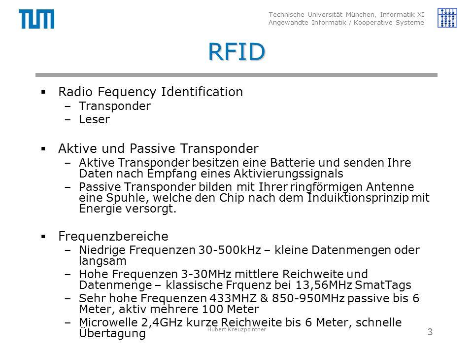 Technische Universität München, Informatik XI Angewandte Informatik / Kooperative Systeme RFID  Radio Fequency Identification –Transponder –Leser  Aktive und Passive Transponder –Aktive Transponder besitzen eine Batterie und senden Ihre Daten nach Empfang eines Aktivierungssignals –Passive Transponder bilden mit Ihrer ringförmigen Antenne eine Spuhle, welche den Chip nach dem Induiktionsprinzip mit Energie versorgt.