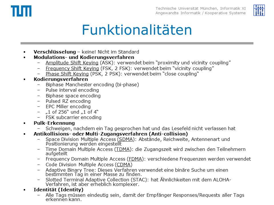 Technische Universität München, Informatik XI Angewandte Informatik / Kooperative Systeme Funktionalitäten  Verschlüsselung – keine.
