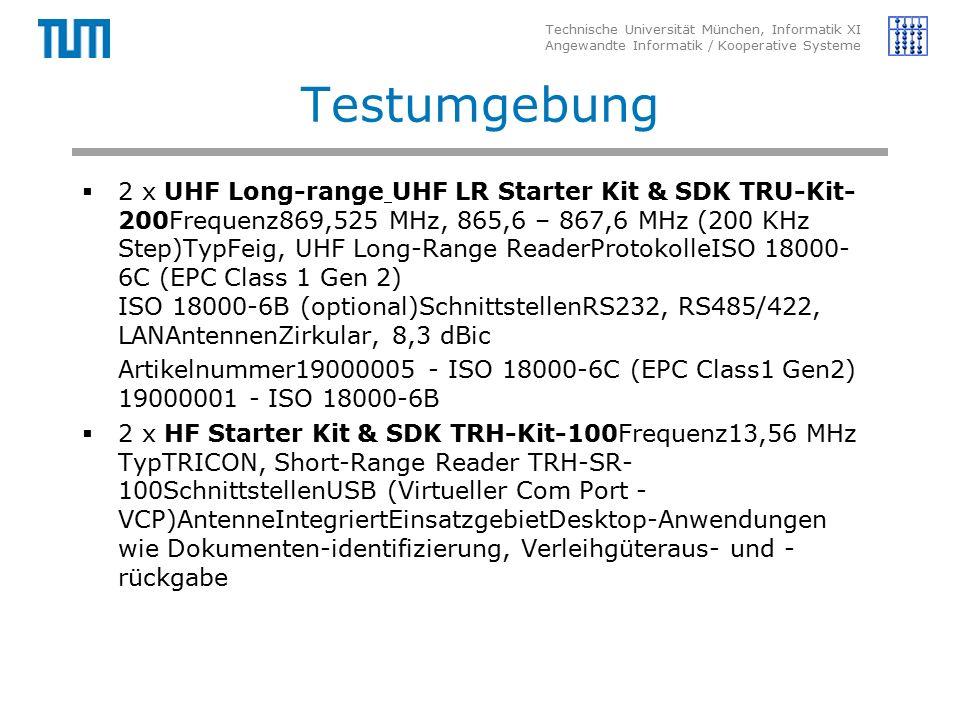 Technische Universität München, Informatik XI Angewandte Informatik / Kooperative Systeme Testumgebung  2 x UHF Long-range UHF LR Starter Kit & SDK TRU-Kit- 200Frequenz869,525 MHz, 865,6 – 867,6 MHz (200 KHz Step)TypFeig, UHF Long-Range ReaderProtokolleISO 18000- 6C (EPC Class 1 Gen 2) ISO 18000-6B (optional)SchnittstellenRS232, RS485/422, LANAntennenZirkular, 8,3 dBic Artikelnummer19000005 - ISO 18000-6C (EPC Class1 Gen2) 19000001 - ISO 18000-6B  2 x HF Starter Kit & SDK TRH-Kit-100Frequenz13,56 MHz TypTRICON, Short-Range Reader TRH-SR- 100SchnittstellenUSB (Virtueller Com Port - VCP)AntenneIntegriertEinsatzgebietDesktop-Anwendungen wie Dokumenten-identifizierung, Verleihgüteraus- und - rückgabe