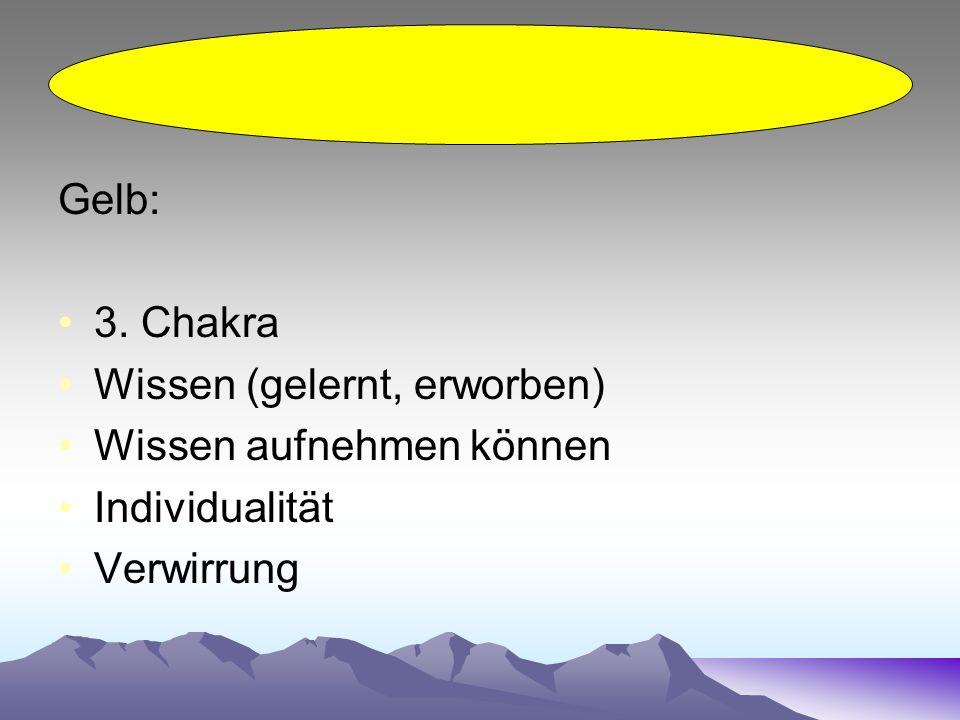 Gelb: 3. Chakra Wissen (gelernt, erworben) Wissen aufnehmen können Individualität Verwirrung