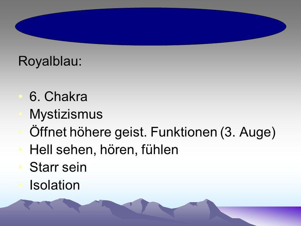 Royalblau: 6. Chakra Mystizismus Öffnet höhere geist.