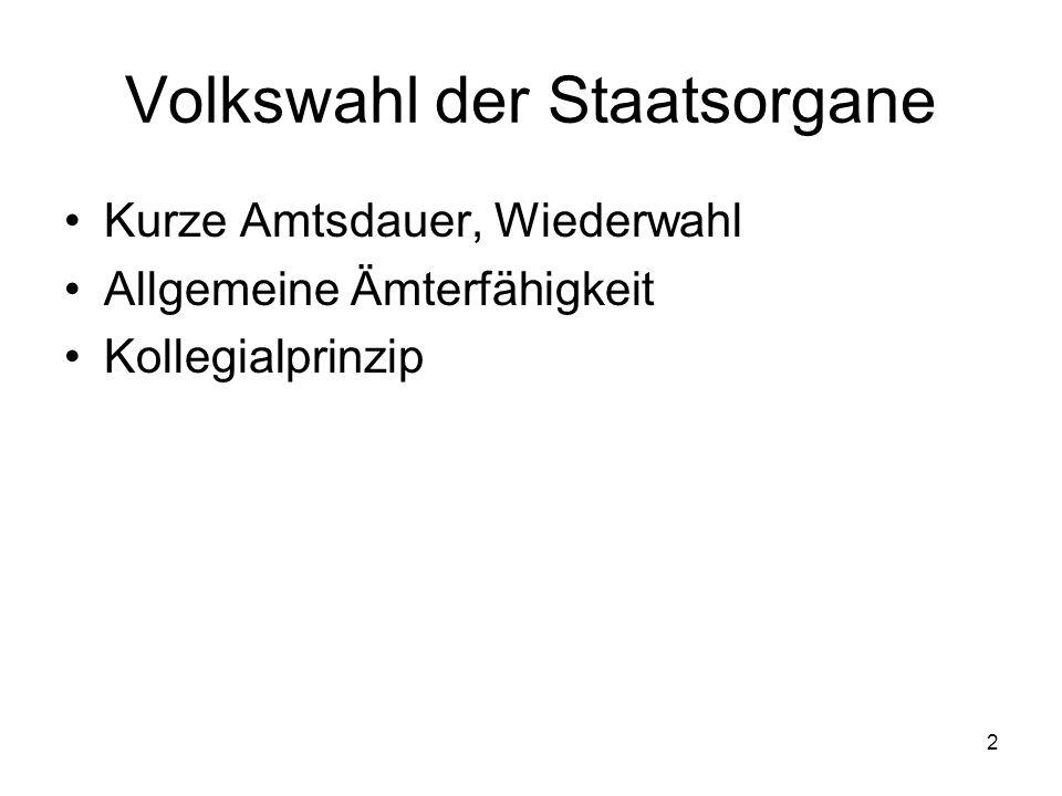 2 Kurze Amtsdauer, Wiederwahl Allgemeine Ämterfähigkeit Kollegialprinzip