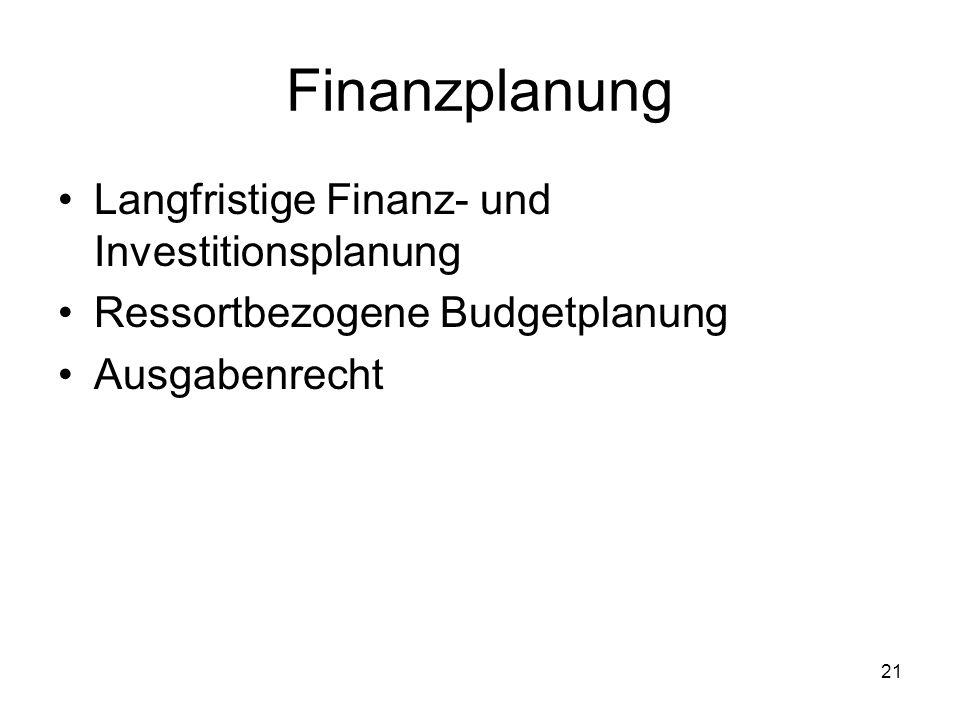 21 Finanzplanung Langfristige Finanz- und Investitionsplanung Ressortbezogene Budgetplanung Ausgabenrecht