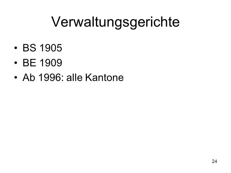 24 Verwaltungsgerichte BS 1905 BE 1909 Ab 1996: alle Kantone