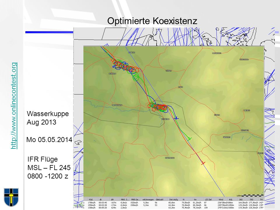 http://www.onlinecontest.org Optimierte Koexistenz IFR Flüge MSL – FL 245 0800 -1200 z Mo 05.05.2014 Wasserkuppe Aug 2013