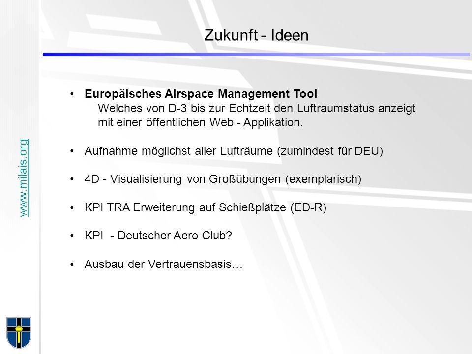www.milais.org Zukunft - Ideen Europäisches Airspace Management Tool Welches von D-3 bis zur Echtzeit den Luftraumstatus anzeigt mit einer öffentlichen Web - Applikation.